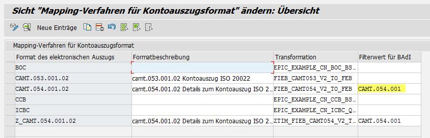 CAMT.054 Auszug bereits vorhenden (FB771) bei mehreren Posten in der ...